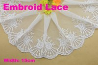 Wholesale 15cm width Cotton embroid lace trims sewing ribbon guipure trim or fabric warp knitting DIY Garment Accessories