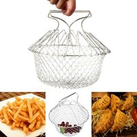 Wholesale Stainless Steel Foldable Frying basket Steam Rinse Strain Fry Chef Basket Strainer Net Kitchen Cooking Tool WA2445