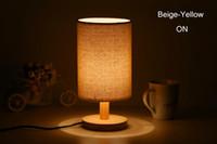 Wholesale Modern Brief Europe Wood Linen led e27 Table Lamp Night Light for Restaurant Bar Bed Room Decor AC V