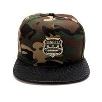 best snapback brands - Hipster Camouflage Cotton GANGSTA Shield Logo Baseball Cap Snapback Caps Outdoor Sunhat For Men Women HipHop Hat Brand Hats Best Gift