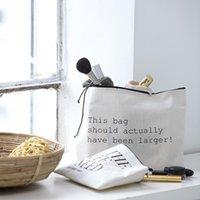 Wholesale 20pcs cm Women makeup bags white blank cotton zipper Clutch Bags organizer bags Gift travel cosmetic cases pencil pouches