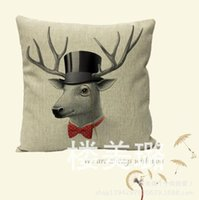 Wholesale 18 inch Sofa Cushion Deer Sheep Bird Pattern Throw Pillow Cover Home Car Hotel Party Decoration CM Pillow Case HomeTextiles