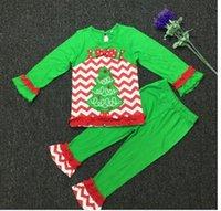 achat en gros de tutu vert ensemble fille-Nouvelle année Vêtements de Noël pour enfants Filles Ensembles de Noël Ensemble d'arbre de Noël robe de bonhomme de neige blanc couleur verte Livraison gratuite