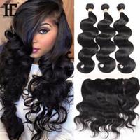 al por mayor productos india-Peruvian Virgin Hair Body Onda con encaje Frontal 3 paquetes con 13x4 de oído a oído Cierre frontal de encaje con bultos Productos para el cabello HC