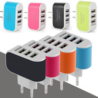 Wholesale US EU Plug USB Wall Chargers LED Adapter Travel Convenient Power Adaptor with triple USB Ports For Mobile Phone