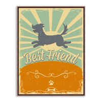 One Panel best dog photos - novelty gift retro Best Friend dog pattern home cafe hotel decorative hanging poster photo picture