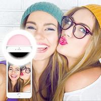 Precio de Anillo de luz led de la cámara-Selfie Flash portátil llevó cámara fotográfica del teléfono Fotografía Luz de aumento de la fotografía para Smartphone rosa y blanco