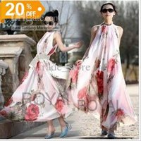 2016 Fashion Women Dress Summer Bohemian Long Maxi robe Fête Jupe Fleurs Printed Chiffon sans manches Cheap Casual Dress Livraison gratuite