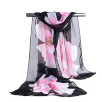 Wholesale Woman Scarf Silk Brand Luxury Print Flower Polyester Ladies Chiffon Scrawl Flower Printed Wrap Scarf