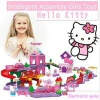 Wholesale Intelligent electric assembly hello kitty serial track Park building blocks of preschool children s gift girls toys