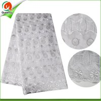 Wholesale 2017 Queency Latest Design African Swiss Voile Lace Cotton Fabric yards per piece for Wedding dress Hot Sale SQ056
