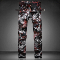 american dj - 2017 Hot Dimensional cut Top Quality Men s Printed Jeans Personality Punk Rock Nightclub DS DJ Party Slim Jeans beggar pants Stage clothes