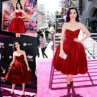 Wholesale 2017 Burgundy Katy Perry Hot Red Velvet Sweetheart Pleats Tea Length Celebrity Gown Cocktail Dress Evening