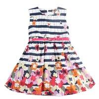 achat en gros de ceinture de fleurs fermeture à glissière-Cozy House Girls Casual sans manches avec une ceinture Lovely Flower Printing et une robe à glissière et Stripe noire