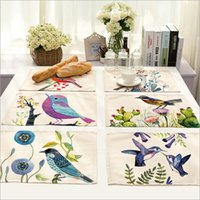 Wholesale Hot Sale Hand painted Birds Placemat Cotton Linen Drawing Table Mat Dishware coasters For Dinner Accessories Cup Wine mat