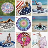 Wholesale 18 styles Round Mandala Beach Towel Tassel Fringing Beach Throw Round yoga Mat Table Cloth Wall Tapestries High quality
