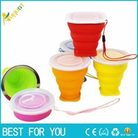 Wholesale 230ml Free DHL New Vogue Outdoor Travel Silicone Retractable Folded Cup Telescopic Collapsible