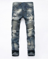 Wholesale Hot sale Balmain fashion brand for men ripped holes jeans frayed destroyed Slim Retro denim biker casual pants hip hop swag overalls