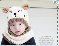 Wholesale The new Korean autumn and winter cat ear collar earmuffs scarf suit plush ear shape wool hat