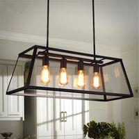Wholesale Loft Pendant Lamp Retro American Industrial Black Iron Glass Rectangular Chandelier Light Living Room Dining Room Light Bar Lamp head