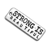 Wholesale 20Pcs Engraved Letter Strong Is Beautiful Rectangle Fitness Charm Jewelry