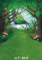 Precio de Vinil fondos de fotografía-Árbol de bosque verde de setas de fotografía de fondo para los niños de la boda bebé ordenador impreso vinilo telón de fondo para foto estudio