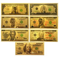 american banknote - 7 K Gold Commemorative Banknotes A Dollar Bills Double Currency Gifts American Gold Foil Dollars Collection Decoration