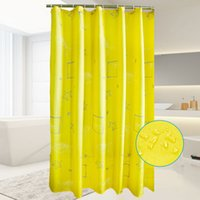 Wholesale Riho Shower Curtain Waterproof Mildew Resistant Fabric Shower Curtain Yellow