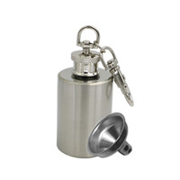 Wholesale 1 OZ Stainless Steel Mini Flasks Oil Portable Cylinder Bottles Silver with Keychain Funnel Included