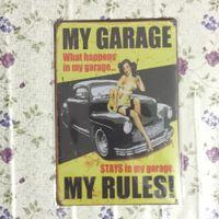 Mon garage Séjours dans mon garage Vintage Decorative Craft Tin Sign Rétro Metal Painting Antique Affiche Bar Pub Signs Wall Art