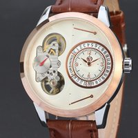 chronographe en or mécanique achat en gros de-Tourbillon Auto Montres mécaniques Cool Black Chronograph Hommes Rose Gold Brand Formal Smart Dress Cuir Automatique Mechnical Montre-bracelet Cadeau