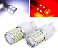 Wholesale 2pcs T20 W21W WY21W LED SMD car Backup Reserve Lights auto brake light fog lamps V red yellow white X