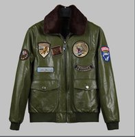 air force decorations - Winter Europe and the United States Air Force pilots Mao lead the green PU leather men s medal decoration jacket jacket tide card
