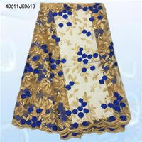 Wholesale Latest African French Net Lace Fabric High Quality African voile Lace Fabric For Wedding dress cloth D611JK06