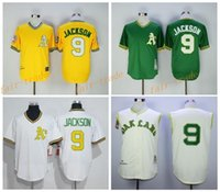 best oakland - Best Quality Reggie Jackson Jersey Cooperstown Retro Oakland Athletics Reggie Jackson Baseball Jerseys Throwback Yellow Green Cream