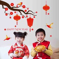 Wholesale New year red lanterns Stickers Santa TV entrance decoration Removable Chinese knot Stickers for window Home Garden