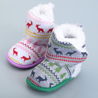 Wholesale Christmas Kids Shoes Elk Snow Boots Red New Toddlers Boys Girls Shoes Baby First Walker Shoes Winter Green Warm Infant Shoes