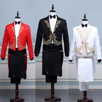 Wholesale- Red White Black Tailcoat Performance Suit Gold Lace Palace Hommes Mariage Prom Fête Costumes Groom Tuxedo Long Blazer Jacket + Pants