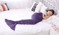 Wholesale 140x70cm Children Mermaid Tail Blanket Soft Hand Crocheted Sofa Blanket Mermaid Tail Sleeping Bags air condition blanket
