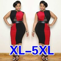 Wholesale New Summer Women Plus Size Sleeveless Panelled Bodycon Dress Hot Girl Oversize Zipper See Through Dress Lady Party Club Formal Midi Dress