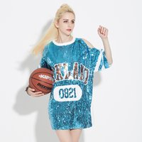Wholesale 2017 summer new women adult sequins stage equipped with alphabet performance stage dress round neck collar in the long section of costume