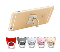 Wholesale 360 Degree Mobile Cartoon Cat face Finger Ring Holder Mobile Phone KickStand For iphone7 plus s Samsung Xiaomi Universal Ring hook bracket