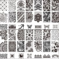 Wholesale New Black Flower Lace CM Nail Stamping Plates Konad Stamping Nail Art Manicure Pedicure Template Nail Art Stamp Tool