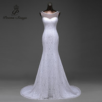 Wholesale transparent yarn with beautiful lace flowers mermaid wedding dresses vestidos de noiva robe de mariage ball gown Poemssongs