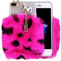apple hair bow - Shiny Glitter Rhinestone Plush Warm Rabbit Hair Fur Diamond Bow Soft Transparent Case for iphone plus plus samsung S7 S7 edge