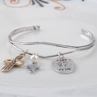 al por mayor puños ovales-Nuevos encantos brazalete abierto brazalete cruz de oro cruz Silve cruz y perla ovales mantienen calmo brazalete mujeres pendientes regalo