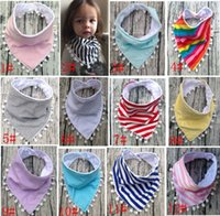 free shipping Cotton as photo 13 Styles Baby Bibs 100%Cotton Tassel Bibs Infant Rainbow Striped Printing Towel Baberos For Newborn Baby Girls Boys