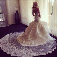 amazing h - Super Amazing Lace Appliques Mermaid Wedding Dresses New Fashion Ruffles Long Train Spaghetti Straps Robe de Mariage H