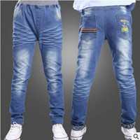 Wholesale New Children s Jeans Trousers Autumn Boy in the Big Children s Denim Pant Thin Section of the Car Blue Size6 Jeans LY114
