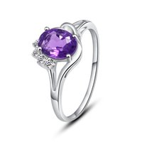 Wholesale 925 Silver Amethyst Ring simple style gift Customized